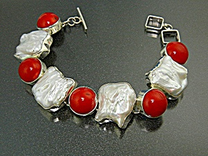 Bracelet Sterling Silver Coral Pearl Toggle Clasp