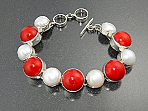 Coral Mabe Pearl Sterling Silver Togge Clasp Bracelet
