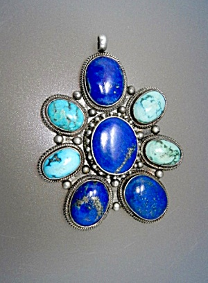Turquoise Lapis Sterling Silver Pendant