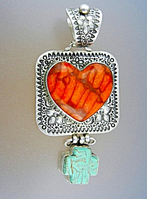 David Troutman Gundi Coral Turquoise Sterling Silver
