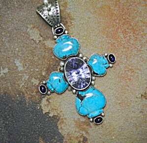 David Troutman & Gundi Sterling Silver Turquoise Cross (Image1)