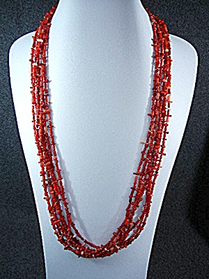 Native American Bamboo Coral 7 Strands Peyote Bird