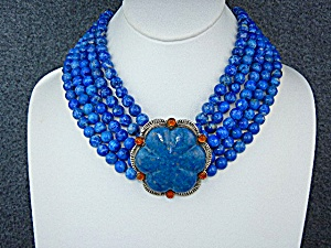 David Troutman Sterling Silver Carved Lapis Amber Neckl
