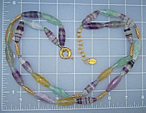 Glass Green Gold Amethyst Necklace Stauer