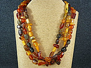 Amber Baltic 3 Strands 23 Inch Necklace Sterling Silve