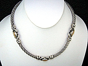 Sterling Silver Flle Menegatti Italy Necklace 14K Gold  (Image1)
