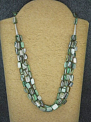 Sterling Silver Mother Of Pearl 3 Strand Necklace