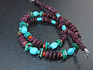 Native American Charoite Turquoise Sterling Silver Neck
