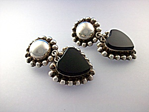 Taxco Mexico Tm-161sterling Silver Onyx Heart Clip Eari