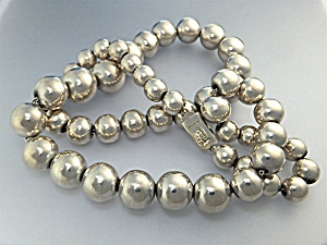 Necklace Sterling Silver  Beads Taxco Mexico ALICIA (Image1)