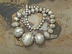 Necklace Navajo Pearls American Indian Sterling Silver (Image1)