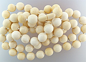 Necklace Pre Ban Ivory Beads Hand Knotted Original Clas (Image1)