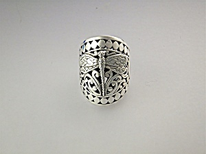 Ring Sterling Silver Dots And Dragonfly
