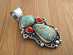 Native American Coral Turquoise Sterling Silver McCABE (Image1)