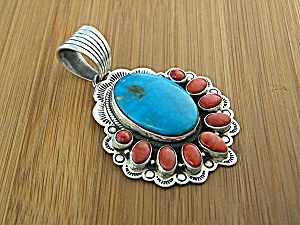Sterling Silver Coral Turquoise  DAN DODSON Pendant (Image1)