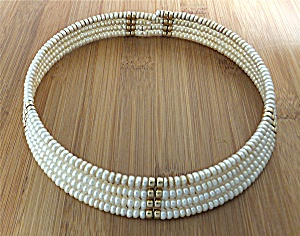 Necklace Freshwater Pearl Collar 4 Row & Gold Beads