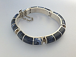 Bracelet Lapis Sterling Silver Taxco Mexico 950