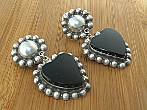 Taxco Mexico Sterling Silver Onyx Hearts Clip Earrings