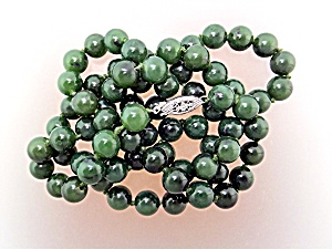 Jade Beads 14K Necklace White Gold Clasp  (Image1)