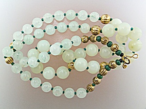 Necklace Apple Jade Gold Malachite Beads (Image1)
