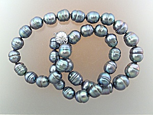 Necklace 14K White Gold 11mm Grey Freshwater Pearls  (Image1)