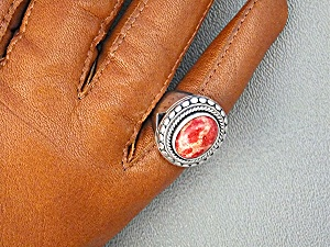Ring Dot Sterling Silver Apple Coral Samuel B