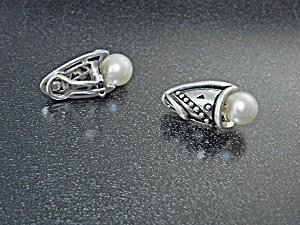 John Atencio Sterling Silver Cultured Pearl Clip Earrin (Image1)