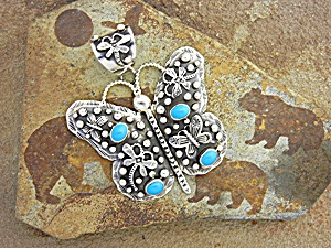 Pendant Turquoise Sterling Silver Butterfly EMMER THOMP (Image1)