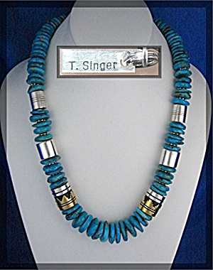 Navajo Tommy Singer Turquoise Sterling Silver Necklace