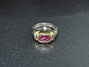 Sterling Silver Gold Pink Topaz Ring Signed Fas.
