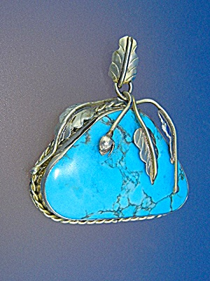 Sterling Silver And Turquoise Leaves Flower Pendant
