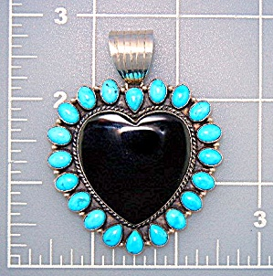 Dan Dodson Sterling Silver Turquoise Onyx Heart