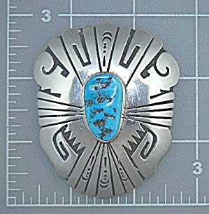 Native American Sterling Silver Turquoise Pin Tommy Sin