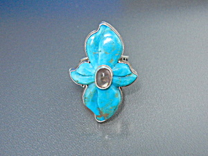 David Troutman Gundi Carved Turquoise Sterling Silver U
