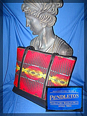 Bag Pendleton Leather Red Gold Wool Tote