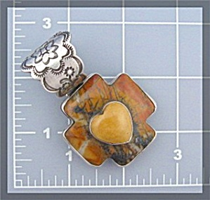 ROCKI GORMAN River Creek Jasper Heart Cross Pendant (Image1)