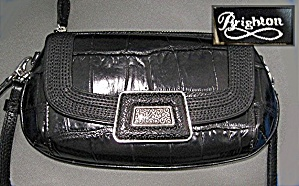 BRIGHTON Black Leather Shoulder Purse (Image1)