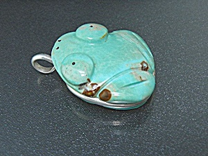 Native American Hand Carved Frog Sterling Silver Pendan