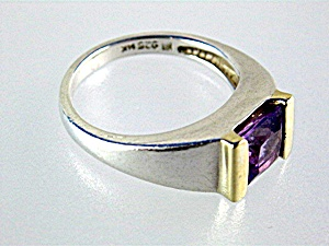 Ring  14K Gold Sterling Silver Amethyst Hong Kong (Image1)