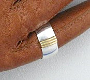 Gold Sterling Silver Band Ring Ferella (Image1)