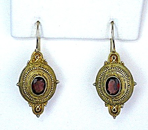 Gold Vermeil Sterling Silver Garnet Earrings (Image1)