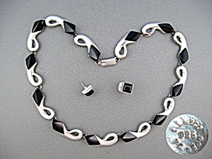 Taxco Sterling Silver Onyx Necklace Earrings (Image1)