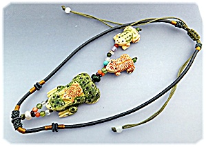 Necklace Bone Carved Frog Tassled Carved Bone Frogs.  (Image1)