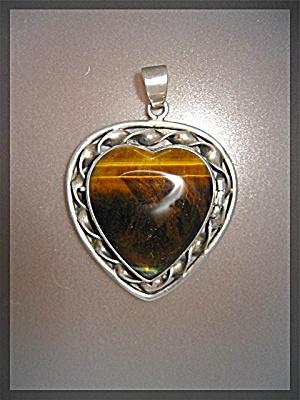Sterling Taxco Mexico Tigerseye MARTINEZ Heart  Locket (Image1)
