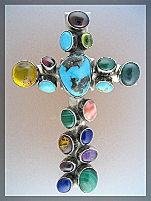 Nakai Sterling Silver Turquoise Multi Stone Large Cross