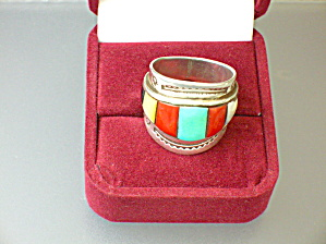 Sterling Silver Turquoise Onyx Mother of pearl Coral Ri (Image1)