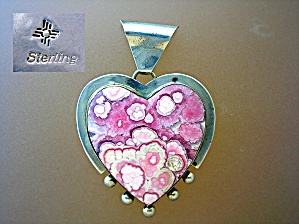 Native American Sterling Silver Heart Rhodocrosite Pend (Image1)