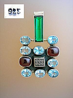 Sterling Silver Cabochon Garnet Blue Topaz Emerald Pend (Image1)