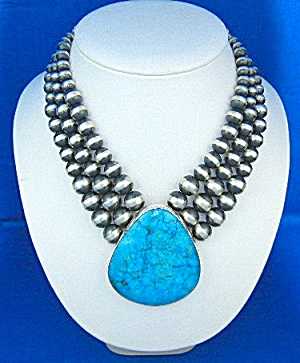 David Troutman Kingman Turquoise Navajo Pearls Necklace