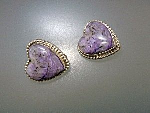 David Troutman Charoite Sterling Silver Heart Clip Earr (Image1)